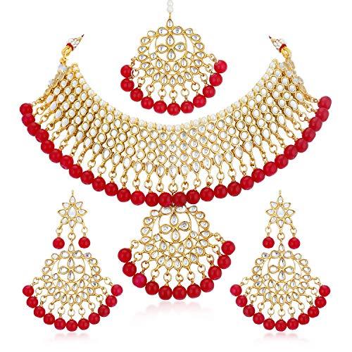 Sukkhi Glorious Kundan Gold Plated Wedding Jewellery Choker Necklace Set for Women (N73542_D1)