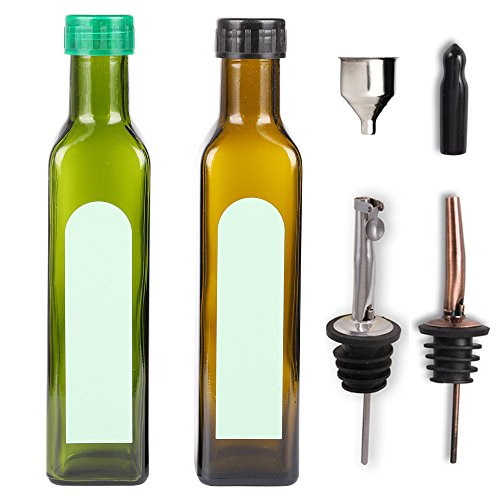 7 Pcs Olive Oil Bottles Dispenser Cruet Set Oil and Vinegar Glass Bottle Container for Kitchen with Pourers, Funnel and Label