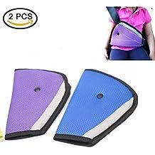 2Pcs Seat belt adjusters,IDS Safety Belt Covers,Seat Belt Positioner (Blue&Purple)