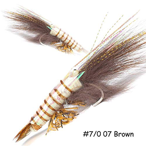 (YZD Saltwater Fly Fishing Tarpon Flies Ultra Realistic Shrimp Flies Big Saltwater Flies Fly Fishing Lures Bonefish Flies Redfish Flies Snook Fly Lure Hooks (Tan Set of 2 Flies, 7/0))