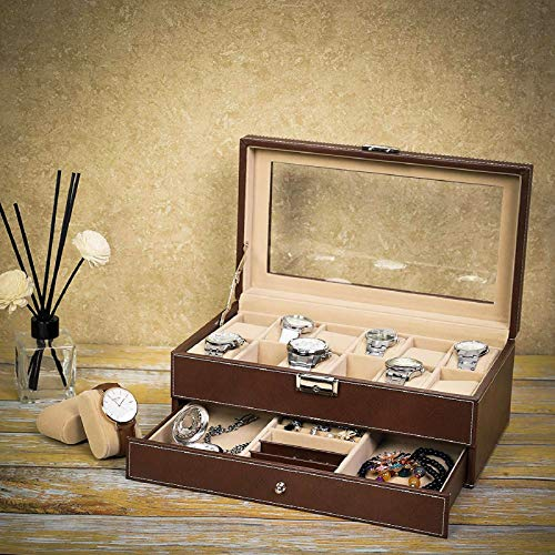 - Watch Box Organizer Case 12 Slots Mens Jewelry Display Drawer Tray Glass Top Leather Big Dresser Valet Tray with Watch Box Jewelry Organizer Smartphone Charging Station Storage and Display (Red-brown)
