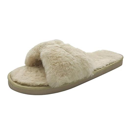 Amazon.com: Sunbona Women Comfy Spa Thong House Slippers Fluffy Faux ...