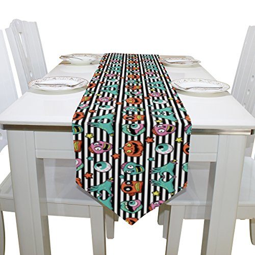 Double-Sided Fashion Striped Stars Halloween Pumpkin, Zombies, Lips and Eyeball Polyester Table Runner & Bed Runner 13