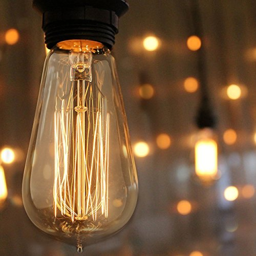 Top Rated Hudson Lighting 60 watt Vintage Edison Bulb - Squirrel Cage Filament - 120 volts - Dimmable - 230 Lumens - E26 - ST58 Teardrop Top