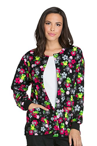 Dickies EDS Signature by Women's Snap Front Frog Print Scrub Jacket Small Print
