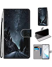 Miagon Full Body Case for Samsung Galaxy Note 10,Colorful Pattern Design PU Leather Flip Wallet Case Cover with Magnetic Closure Stand Card Slot,Night Road