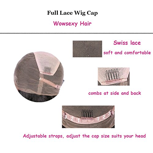 Wowsexy Hair Brazilian Virgin Hair T1b/613 Ombre Blonde Short Bob Lace Front Wigs 130% Density Glueless Short Bob Human Hair Wigs with Baby Hair for Black Women (12 inch, Full Lace Wig) by Wowsexy Hair (Image #3)