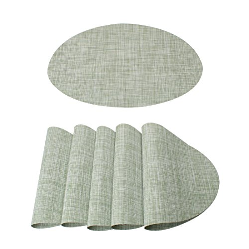 uxcell Washable Placemats Set of 6 Heat-Resistant Cross Weave Non-Slip Insulation Mats for Kitchen Dining Table, Oval, Pale Green, 18 inches x 12 inches - Oval Set Cross