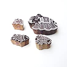 Scorpio and Owl Indian Motif Wooden Stamps for Printing (Set of 4)
