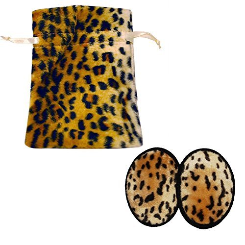 Leopard Faux Fur Ear Mitts Gift Bag Set (Available in 2 Sizes) (Small) (Muffs Bandless Ear)