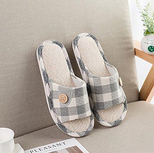 Anti Pantoufle Intérieur Gray Doux Slip 39 Conception Treillis Lin Tongs 38 Nouveau SHANGXIAN Des Ménage Gray Sandales fdnqAzzw