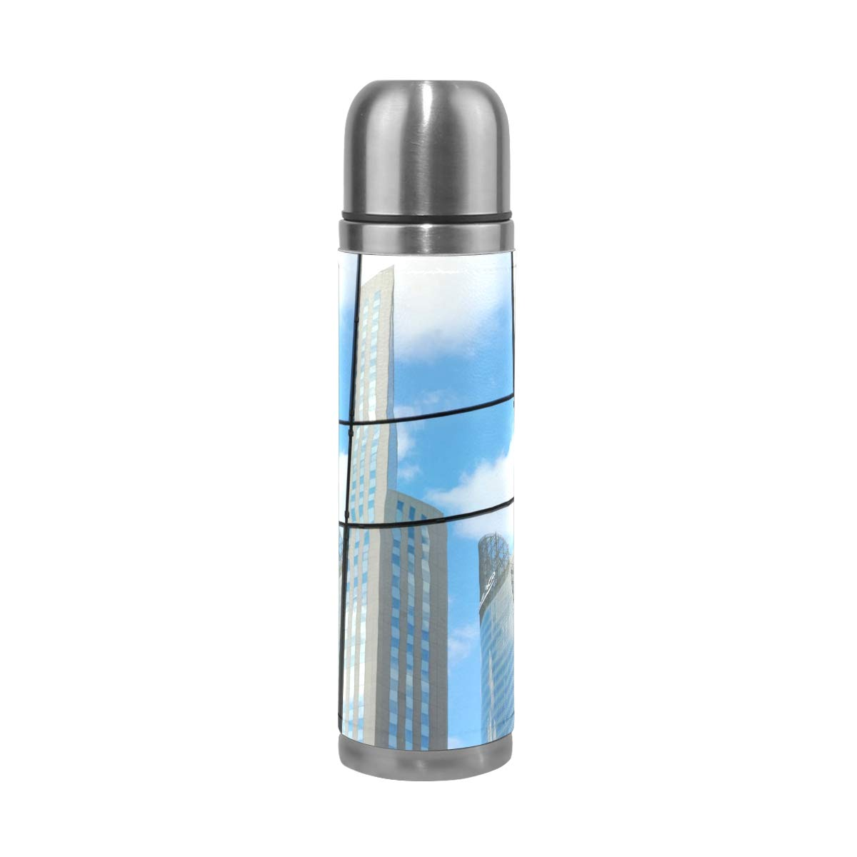 City Blue Window Sky Urban Abstract 500ML Stainless Steel Double Walled vacuum insulated water bottle Travel Mug Leather Cover Thermos 17 oz