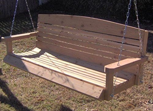 Brand New American Cedar Porch Swing with Hanging Chain and Cupholders - 5 Foot - Swing 5 Garden Foot American