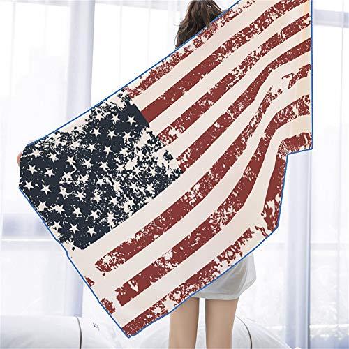 31.5 x 63 Inches Silky Beach Towel Blanket Patriotic Vintage American US Flag Retro Star-spangled Banner Microfiber Soft Super Water Absorption Beach Swimming Bath Pool Hiking Yoga Camping Gym Sports ()