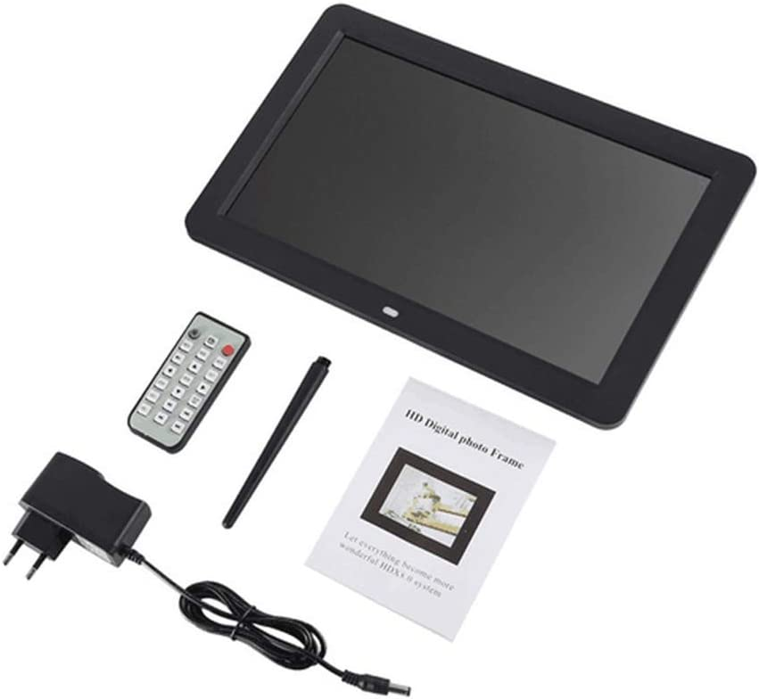 Support USB//SD,Black QUWN-Multimedia Digital Photo Frame Built in Stereo Speaker 12.0 Inch LED Display with Holder//Music /& Movie Player//Remote Control Function