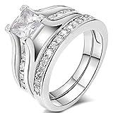 FENDINA Womens 18K White Gold Plated Wedding Engagement Ring Set Created Emerald Cut Diamond Best Enternity Promise Rings for Her
