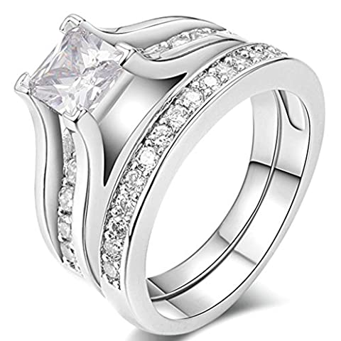FENDINA Womens 18K White Gold Plated Wedding Engagement Ring Set Created Emerald Cut Diamond Best Enternity Promise Rings for (Rings Cheap Silver)