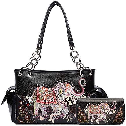 Elephant Rhinestone Studded Western Style Concealed Carry Purse Handbag Women Shoulder Bag Wallet Set (#2 Black Set)