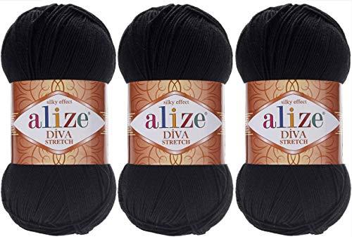 Stretch Crochet - Alize Diva Stretch Thread Crochet Hand Knitting Lot of 3skn 300gr 1314yds 100% Microfiber Acrylic Stretch Bikini Yarn (60)