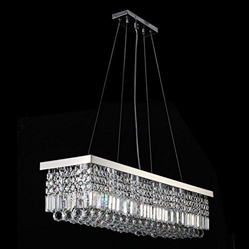 Siljoy l40 x w10 rectangle modern crystal chandelier for Modern crystal chandelier for dining room
