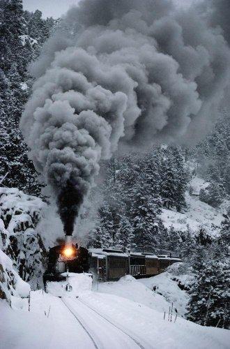 Wallmonkeys The Durango & Silverton Narrow Gauge Railroad Train Chugs Through The Snow Blanketing The San Juan Mountains Peel and Stick Wall Decals WM253509 (30 in H x 20 in W)