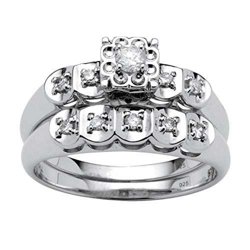White Diamond Platinum over .925 Silver 2-Piece Bridal Ring Set (.28 cttw, IJ Color, I3 Clarity) Size 9 (Colour Set Diamond Two)