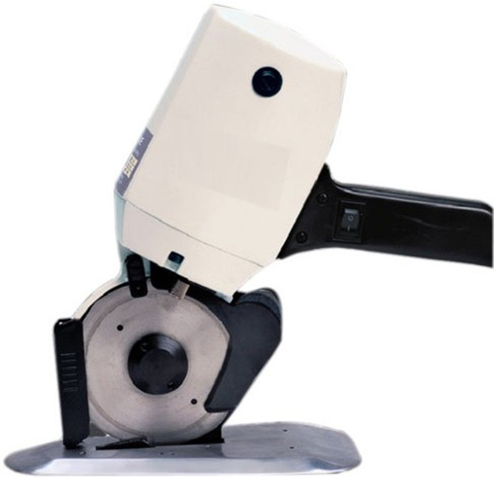 Yamata YCM-40 Standup Rotary Cutter with 4'' Circular Knife Blade; Suitable for mass trimming cotton, woollen, linen leather and chemical fibre goods, etc; Cuts Up To 15 Layers by Yamata