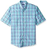 IZOD Men's Big and Tall Breeze Short Sleeve Button Down Plaid Shirt, Blue Legacy Radiance, 3X-Large Tall