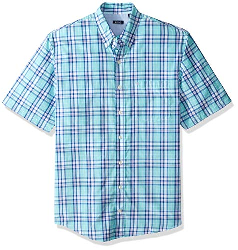 IZOD Men's Big and Tall Breeze Short Sleeve Button Down Plaid Shirt, Blue Legacy Radiance, 3X-Large Big Big