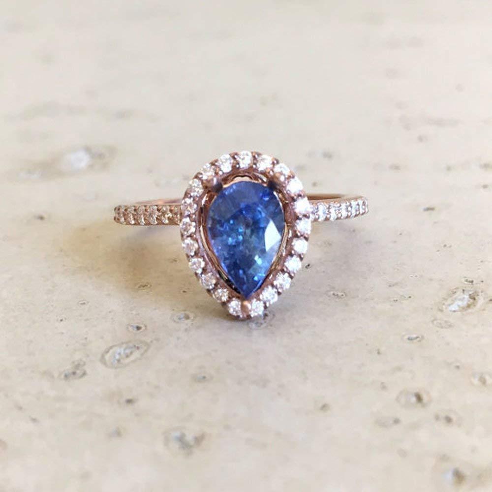 Amazon Com Blue Sapphire Engagement Ring Rose Gold Sapphire Engagement Ring Pear Shape Sapphire Engagement Ring Diamond Sapphire Promise Ring Handmade