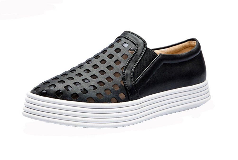 Women Fashion Loafer Flat Breathable Mesh Platform Walking Shoe Black 8M US