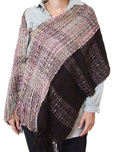 Handwoven poncho shawl women wool cape large wool shawl brown shawl wool shawl shrug wool coat woven wrap wool poncho wool cape fall winter by HandweavingbyMima