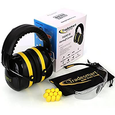 Tradesmart Shooters Earmuffs NRR38 Combo - Muffs, Ear Plugs & UV400 Safety Glasses, anti scratch, anti fog - for Hunting, Gun Range or Workshop (2pk Clear/Tinted)