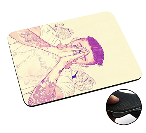 002946 - Sexy Man Boy Tattoos Arms Praying Model Gorillas Justin Design Macbook PC Laptop Anti-slip Mousepad Mouse Mat Tpu Leather-Slim - Male Justin Model
