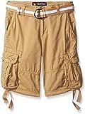 Southpole Big Boys Belted Fine Twill Basic Cargo Short, Deep Khaki, 12