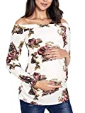Cinery Maternity Tops for Women, Womens' Maternity Tops Classic Side Ruched Long Sleeve T-Shirt Floral Off Shoulder Mama Pregnancy Clothes (Mocha L)
