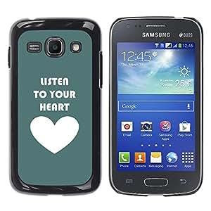 Be Good Phone Accessory // Dura Cáscara cubierta Protectora Caso Carcasa Funda de Protección para Samsung Galaxy Ace 3 GT-S7270 GT-S7275 GT-S7272 // Green White Heart Listen Text Lov