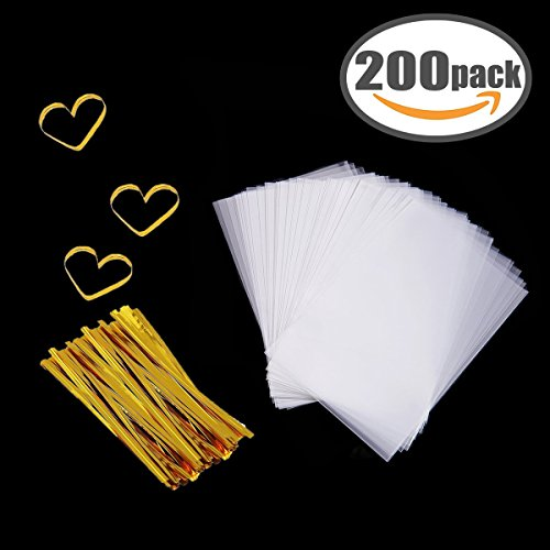 Cellophane Bag 200 PCS Clear Cello Treat Bags Party Favor Bags for Gift Bakery Cookies Candies Dessert with 200 PCS Metallic Twist Ties (3