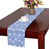 Dandelion Seeds Fluff Blue Blow Flying Light Table Runner, Kitchen Dining Table Runner 16 X 72 Inch For Dinner Parties, Events, Decor