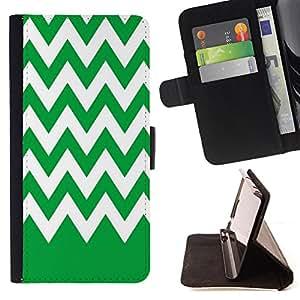 Dragon Case - FOR Apple Iphone 6 - Green bottom white waves - Caja de la carpeta del caso en folio de cuero del tir¨®n de la cubierta protectora Shell