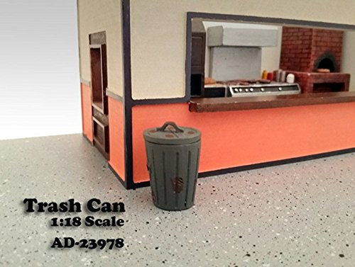 Trash Can Figure, Grey - American Diorama Figurine 23978 - 1/18 scale