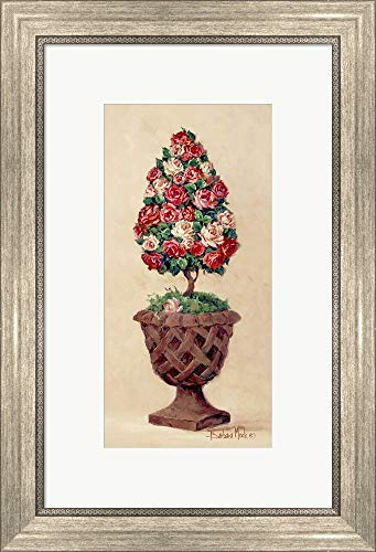 (Rose Topiary II by Barbara Mock Framed Art Print Wall Picture, Silver Scoop Frame, 15 x 22 inches)