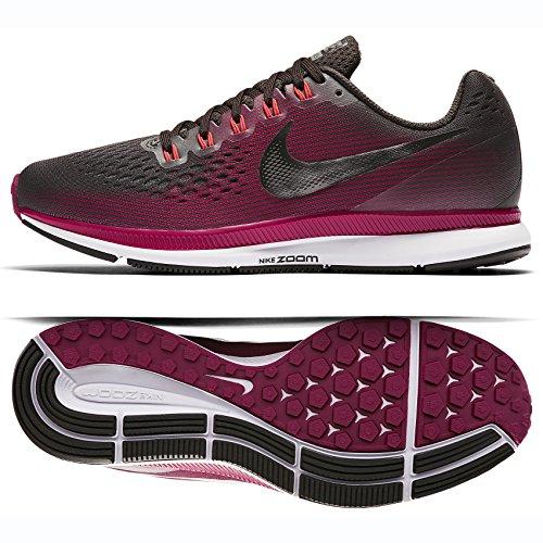 NIKE Women's Air Zoom Pegasus 34 Running Shoe (Gem) Shadow Brown/Metallic Pewter/Rush Maroon (8)