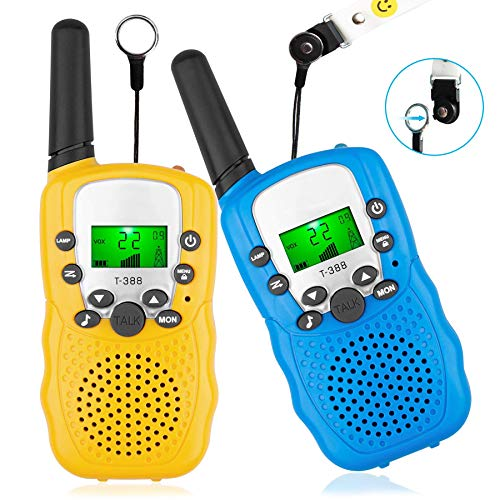 RIDEIWAKE Gifts Walkie Talkies for Kids, Long Range 2 Way Radio Toy Hunt Game, 22 Channels Walky Talky with Flash Light and LCD Screen for Hiking Camping, Age for 3-12 Year Old Boys