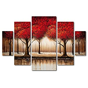 Parade of Red Trees by Rio (5 Panel Set)