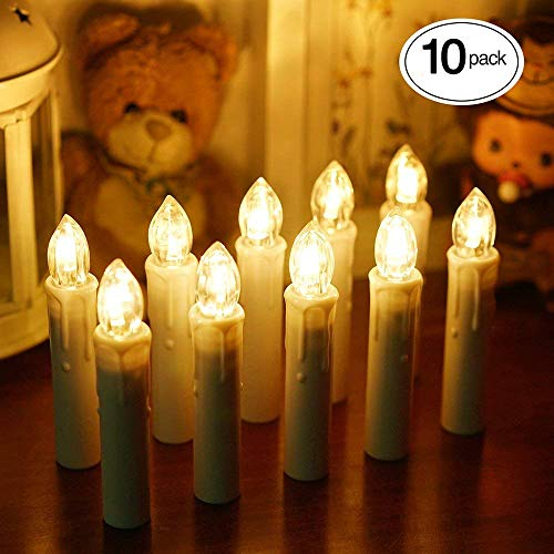 - TurnRaise Window LED Taper Candles with Remote Control, Flameless Battery Candles for Christmas Wedding Party Birthday Decoration (10 Pack Warm White)