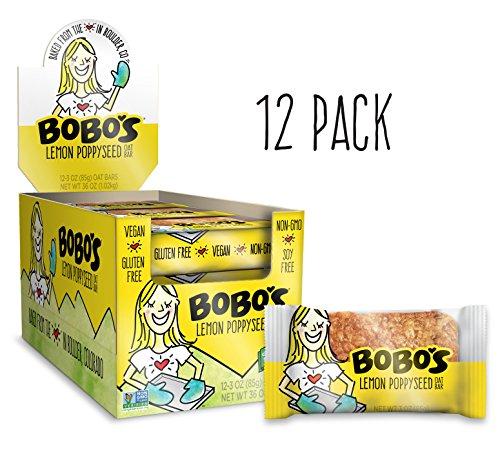Bobo's Oat Bars All Natural, Gluten Free, Lemon Poppyseed, 3 oz, 12 Piece (Best Ever Lemon Poppy Seed Muffins)