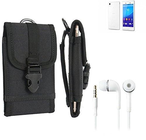 bolsa del cinturón / funda para Sony Xperia M4 Aqua, negro + Auriculares | caja del teléfono cubierta protectora bolso - K-S-Trade (TM)