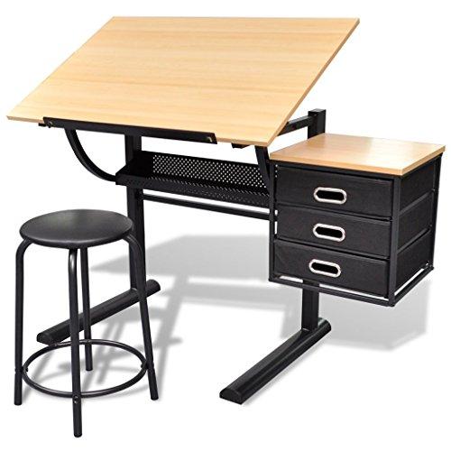 vidaXL Kippbarer Zeichentisch Arbeitstisch mit Stuhl