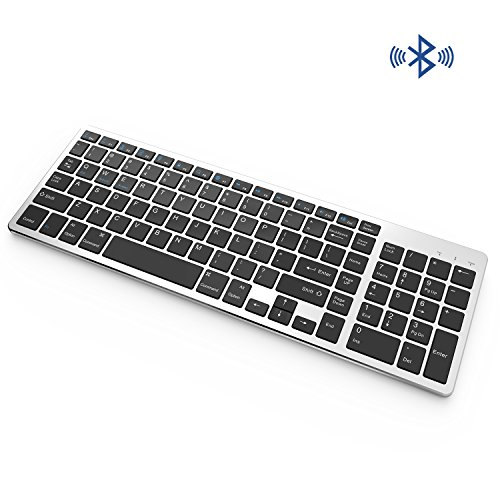Vive Comb Bluetooth Keyboard, Rechargeable Portable BT Wireless Keyboard with Number Pad Full Size Design for Laptop Desktop PC Tablet, Windows iOS Android-Black and Silver